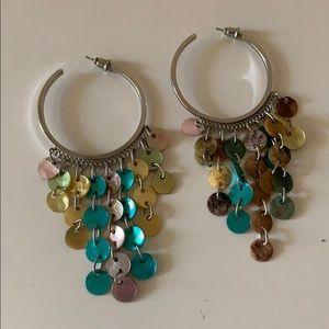 Colorful dangle hoop earrings